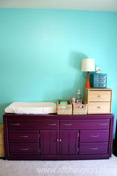 painted purple dresser... love the color