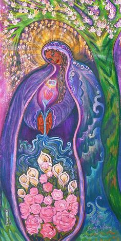 "Brings to Mind One Image of Danu, the Celtic Mother Goddess, and the Sacred Feminine: ""She Gives Birth to Living Waters"" by Shiloh Sophia McCloud Divine Goddess, Goddess Art, Earth Goddess, Divine Mother, Mother Goddess, Éphémères Vintage, Sacred Feminine, Arte Popular, Shiloh"