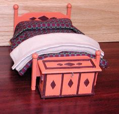 Fully dressed double bed & blanket chest.  by AuntElliesMiniatures, $40.00