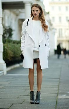 White dress, white coat.