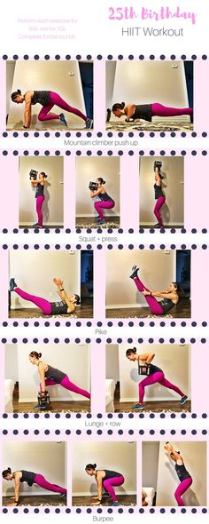 It's my birthday, so today's workout will include my favorite exercises and will play off of the number 25 (cuz birthday, remember?). We will be working through five exercises, for fifty seconds each, for five rounds, making a 25 minute full body HIIT workout.