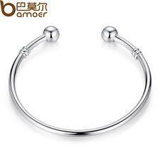 Luxury Jewelry Silver Bangle Bracelet Can Add Different type European Charm Bead #jewelrysilver
