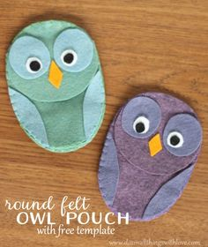 round felt owl pouch with free template