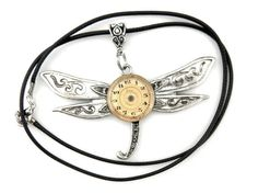 Edwardian Steampunk  Dragonfly Pendant  Silver by SteamSect
