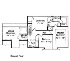 Second Floor Plan Of Bungalow Country House 50006 I Like That The Bedrooms Are