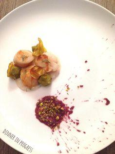 dinner in progress: Menù pasquale: antipasto - Capesante scottate su p...