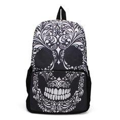 Sale 11% (16.37$) - Unisex Punk Skull Printed Backpack Shoulder Bag