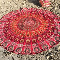 Bedspreads – Indian Red Round Circle Roundie Mandala 72x72 – a unique product by IndianCraftPalace on DaWanda
