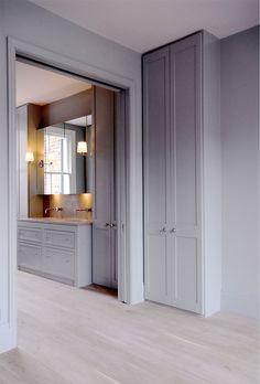 Pocket doors from master bedroom to bathroom. De Rosee Sa - Dalling Road, W6