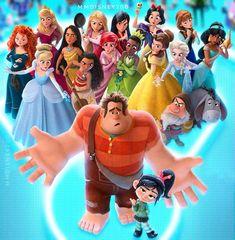 Disney's latest movie: Ralph Breaks the Internet Disney Crossovers, Disney Memes, Disney Cartoons, Disney Princess Facts, All Disney Princesses, Disney Fan Art, Disney Love, Disney And Dreamworks, Disney Pixar