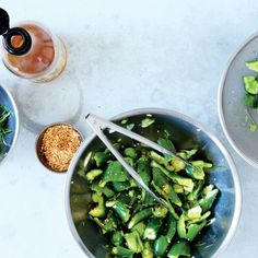 Cucumbers with Scallions and Chili Oil, Bon Appetit June 2015