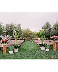 The bride never imagined herself getting married in a church because she knew she wanted to be outside in the sunshine. Together with their wedding planner, Hallie Slade of LB Events, they created the feeling of a church on the El Chorro lawn by bringing in benches and a cross for the altar. Hallie also placed large cacti at the beginning of the aisle, creating a more dramatic entrance.