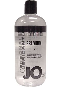 JO PREMIUM LUBE ORIGINAL 16OZ - A premium lubricant made in the U.S., System JO is a long-lasting silicone formulation with added vitamin E to leave your skin silky and smooth after use. System JO is light, odorless, nontoxic, non-allergenic, and latex safe, and it is manufactured in a facility that operates under strict U.S. FDA guidelines. Should not be used with silicone toys.