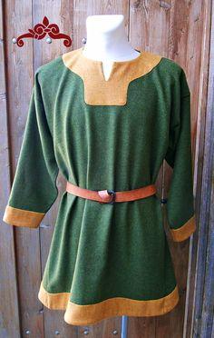 Tunika aus grüner und gelber Wolle. Wikinger, Merowinger. Tunic made of green…