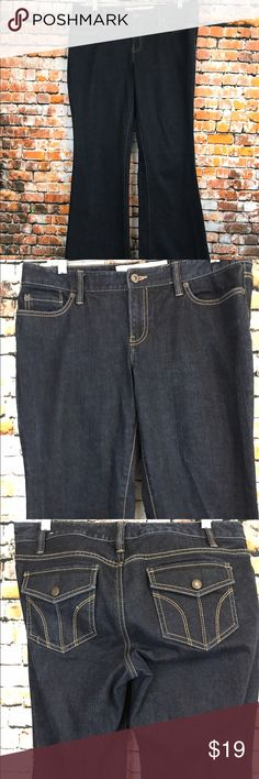 "Ann Taylor Loft Women Size 8 X 32 1/2 Flare Jeans New without tags.  Ann Taylor Loft Women Size 8 X 32 1/2 Jeans.   Zipper front with a metal button.  Two front and 1 coin Pocket.  Two back flap snap button pockets.   Dark Wash.  Flare.  Made of 99% Cotton and 1% Spandex.   Waist measuring all the way around approx 33"". Waist lying flat approx 16 1/2"" for a total of 33"". Front rise approx 8 1/2"". Hip lying flat at the crotch approx 20 1/4"" for a total of 40 1/2"". Bottom of leg all the way…"