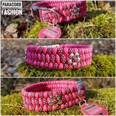 Halsband aus Paracord. Muster: Trilobite. In Pink und Pink Diamonds mit Blümchen   #dogs #paracord #halsband #diy