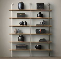 Metal and wood industrial shelves