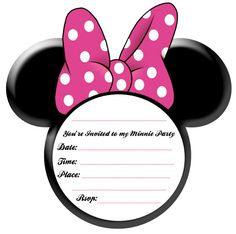 Minnie Mouse Invitation Template That Includes The Disney Font