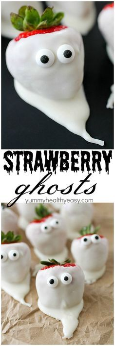 These Chocolate Covered Strawberry Ghosts will be the hit at your Halloween party! They're cute and spooky all at the same time, and so simple to make. Who doesn't love a chocolate covered strawberry?! (Healthy Bake Fall)