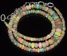 """50 Tcw 2 to 7 mm 16"""" Natural Ethiopian Welo Fire Opal Necklace ---69"""