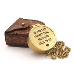 Anniversary Gift Ideas for Long Distance Boyfriend - Love Quote Pocket Compass Long Distance Love Quotes, Long Distance Boyfriend, Best Looking Watches, 10th Anniversary Gifts, Pocket Compass, Love Journal, Little Books, Cool Gifts, Boyfriend Gifts