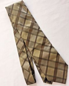 Pal Zileri Silk Italian Tie Necktie Gold Brown Strip Plaid Mens Gruppo ForAll #PalZileri #Tie