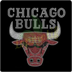 Bling Bling CHICAGO BULLS Glitter Rhinestone Motif For Sports Tee