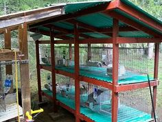 Setting up a rabbitry - Homesteading Today. Similar to what I want to do, but have the deal under the cage more slanted