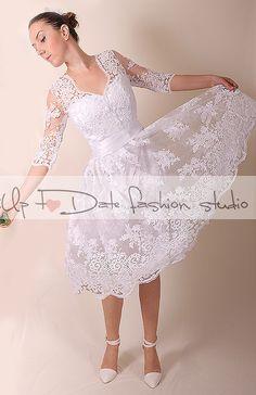 Wedding dress/Recepion/knee length/ lace dress/  Bridal Gown by UpToDateFashion on Etsy https://www.etsy.com/listing/249995634/wedding-dressrecepionknee-length-lace