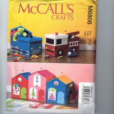 Craft Pattern Mccalls M6806 Whimsical Toy Box Dollhouse Train Fire Truck Storage…