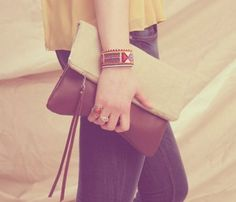Linen  Leather Clutch
