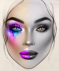 Edgy Makeup, Unique Makeup, Creative Makeup Looks, Colorful Eye Makeup, Eye Makeup Art, Crazy Makeup, Kiss Makeup, Mac Face Charts, Makeup Illustration