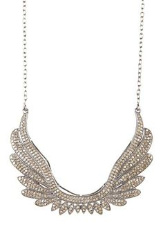 Diamond Angel Wing Pendant Necklace