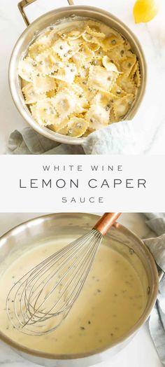 Lemon Caper Sauce, Lemon White Wine Sauce, Pasta With Lemon Sauce, Lemon Cream Sauces, Lemon Pasta, I Love Food, Good Food, Yummy Food, Pasta Facil