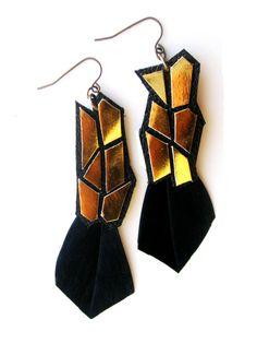 Leather Earrings Gold Geometrics  - nice