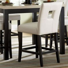 Archstone Collection Counter Height Chair in White Bi-cast Vinyl by Homelegance (Set of Counter Height Bar Stools, Cool Bar Stools, Side Chairs, Dining Chairs, Dining Room, High Top Tables, Stools With Backs, Chair Backs, Pub Table Sets