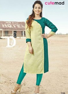 Creative cream and turquoise cotton casual wear designer kurti. Having fabric cotton. The ethnic plain for the attire adds a sign of magnificence statement with a look. Churidar Designs, Kurti Neck Designs, Dress Neck Designs, Kurti Designs Party Wear, Blouse Designs, Simple Kurti Designs, Girls Party, Kurti Embroidery Design, Frock Design