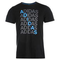 MENS BLACK ADIDAS REPEAT TEXT LOGO CREW NECK SHORT SLEEVE TEE SHIRT T-SHIRT TOP #Adidas