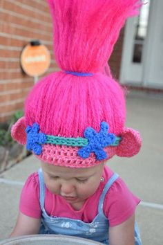 We love trolls! This hat is so fun for dress up, play, or just because! * Can be made in any size * Hair stands, just like Princess Poppy! * Perfect for a birthday present! Crochet Troll Hat, Crochet Beanie, Crochet Crafts, Yarn Crafts, Crochet Projects, Crochet For Kids, Crochet Baby, Knit Crochet, Crochet Wigs