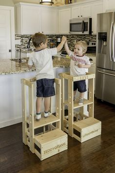 You can also visit our website at www.tottowers.com This is the TeddyGrams adjustable Tot Tower. We have 2 very happy grandsons and over 1,400 customers. Your childs safety is our utmost concern and every penny spent on this Tot Tower is well worth your piece of mind. We are now