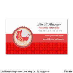 Childcare Occupations Cute Baby Carriage Double-Sided Standard Business Cards (Pack Of 100)