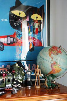 little boy bedroom, french poster, toys, vintage globe