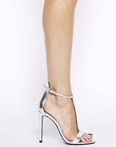 Enlarge River Island Silver T Bar Barely There High Heeled Sandals