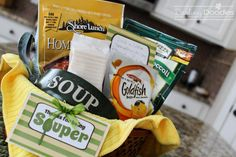 """thanks for being souper""...things to include in this basket are gourmet soup mix or homemade soup mix in a jar, bowls, spoons, crackers, cornbread or muffin mix, thermos, dish towels or cozy blanket...free printable gift tags"
