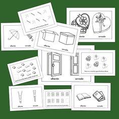Los conceptos: Abierto-Cerrado Spanish Games, Spanish Songs, Spanish Activities, Spanish Lessons, Activities For Kids, Einstein, Lesson Plans, Therapy, Classroom