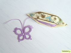 Tamara ART: Butterfly and DIY frivolité/tatting shuttle (free pattern and tutorial)