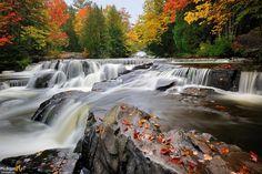 Stunning Fall colors at Michigan's Bond Falls near Paulding, Michigan Michigan Vacations, Michigan Travel, State Of Michigan, Northern Michigan, Lake Michigan, Taquamenon Falls, Michigan Waterfalls, Mackinac Island, Great Lakes