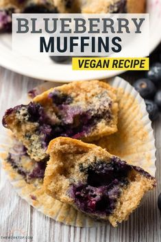 Vegan Blueberry Muffins || A easy recipe that is moist and delicious. Made healthy with the addition of spelt flour and apple sauce. I can't stop eating these! Recipe from www.theworktop.com. || #veganrecipes #blueberrymuffins #theworktop