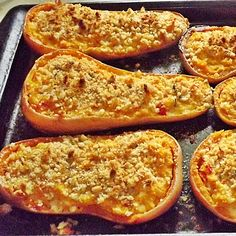 Twice Baked Butternut Squash | I figured while I was on the whole fall foods kick, I would just continue to run with it for the rest of this week.   I love butternut squash. Just simply baked with some butter and a dash of cinnamon is nirvana to me. I decided though, that I wanted to turn this beautiful fall veggie into a meal, and make it more savory. | From: themeltaways.com