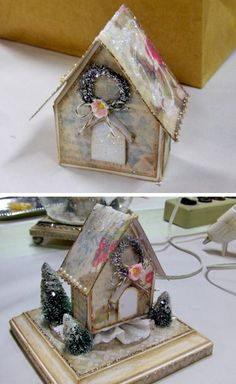 Paper house & snow globe tutorial....(no globe pic attached here)